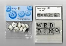 Dress it Up: (2) Scrapbook Craft Buttons NIP  WEDDING Title Cupcakes