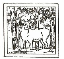 DEER Buck In Winter Trees Square Wood Mounted Rubber Stamp NORTHWOODS CC9909 New