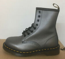 DR. MARTENS 1460 PEWTER MUTED METALLIC  LEATHER  BOOTS SIZE UK 8