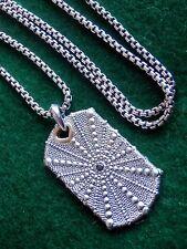 "David Yurman Natural Sea Urchin Dog Tag w/ Black Diamond & Gold & 22"" DY Chain"