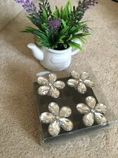 Large Set 4 FACETED Diamanté CRYSTAL  DRAWER/CABINET KNOBS SHABBY vintage CHIC