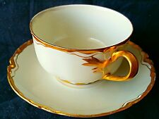 VERY RARE HAVILAND LIMOGES CUP & SAUCER ELEGANT WHITE & GOLD