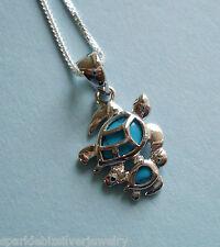 "P977 Sterling Silver & Turquoise Hawaiian Honu Mom & Baby Turtle Pendant 18"""