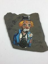 Pierre Louis Laiche - New Orleans - Slate Tile Sad Clown Painting - Bourbon St.