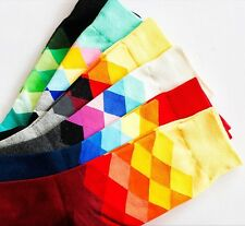 5 Pack New Men Happy Socks Checked Multicolour British Style Gradient Colour