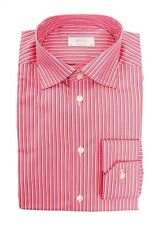 Mens ETON Red Striped Cotton Spread Collar Dress Shirt 15 1/2 M 39 NWT $245!