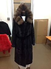 "RUSSIAN SABLE TRIMMED 44"" Semi Sheared MINK COAT TIE BELT & HOOD BECOMES COLLAR!"