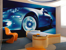 Blue Sports Car Wall Mural Photo Wallpaper GIANT DECOR Paper Poster Free Paste