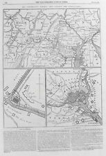 Vecchia antica mappa Stati Uniti guerra civile generale Lee Washington Pennsylvania 1863