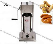 Manual 3L Stainless Steel Spanish Churros Machine Sausage Stuffer Filler Maker