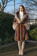 GORGEOUS MINK FOX FUR COAT JACKET By BRASCHI Designer ITALY In Mocca Color NEW