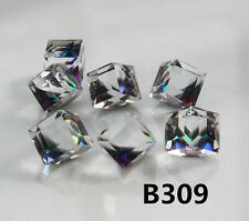10pcs 8mm Crystal Charm Faceted Square Cube Cut Glass No Hole Beads  B309