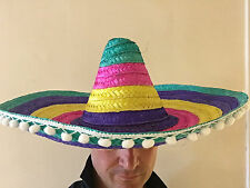 Large Sombrero Mexican Hat Deluxe Straw Gringo Hats Costume Fancy Dress Party