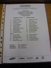 19/11/2013 Swindon Town YOUTH V Leyton Orient Youth [FA Youth Cup] (Singolo Foglio