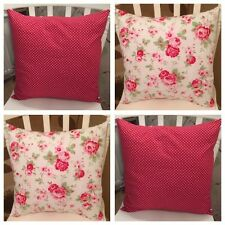 "Set 4 Cath Kidston White Rosali Floral Red Spot 16"" Cushion Covers Shabby Chic"