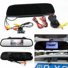 "Car 4.3""LCD RearView Mirror Monitor 4 LED Night Vision Reverse Backup HD Camera"
