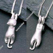 Silver 3D Cat Necklace Kitten Pendant Mum Gifts for Her Girlfriend Women Girl GF