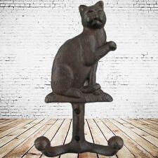 Garderobe 2 x Katzen Wandhaken Gußeisen Rust. braun H.17 cm Vintage Ästhetik