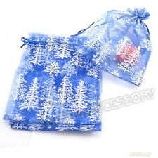 20x Christmas Tree Pattern Printed Organza Pouch Blue Gift Bag 13x18cm Fit DIY D