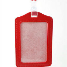 ID Holders Red PU Leather Case Business Badge Card Holder with Necklace Lanyard