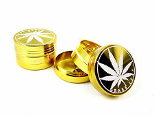 GOLD GRASSLEAF 40MM 3 PART SHARK TEETH MAGNETIC GRINDER HERB WEED POLLINATOR