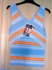 BNWT SIZE 10 GEORGE WOMEN'S V-NECK ORANGE AND BLUE SLEEVELESS STRIPED TOP