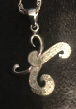 """Monogram Initial Script letter K  Sterling Silver With Crystal Chips 1"""" Pendant"""
