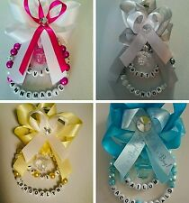Personalised Baby Pram Charms Boy or Girl! Finest New Ribbon Beautiful for you!