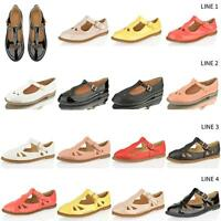WOMENS LADIES CUT OUT FLAT BUCKLE T BAR GIRLS MARY JANE SCHOOL OFFICE PUMP SHOES