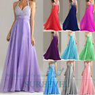 Women's Long Halter Cocktail Evening Dress Party Prom Formal Bridesmaid Dresses