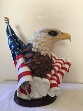 """Large  17"""" Bald Eagle with American Flag On Solid Wood Base"""