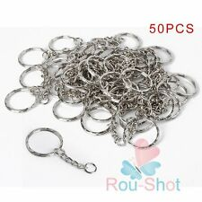 New 50Pcs Silver DIY Polished Keyring Split Ring Short Key Chains 25mm with Link