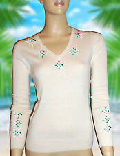 LUXE OH `DOR® 100% Cashmere Pullover weiß smaragd grün mit Swarovski® 44/46 L