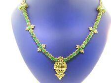 Stunning 12.75 CTS Emerald & Diamond Solid 22K Gold Kundan Moghul Necklace