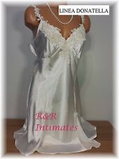Linea Donatella Embroidered Beaded Satin Chemise, SAD010, Ivory, Size Large