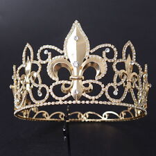 10cm High Luxury Crystal Gold King Crown Wedding Prom Party Pageant 16cm Wide