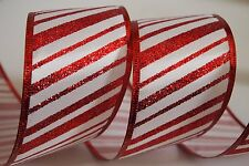 """5 Yards Red White Stripe 2.5"""" Wired Ribbon Candy Cane Christmas Ribbon 5 yds"""