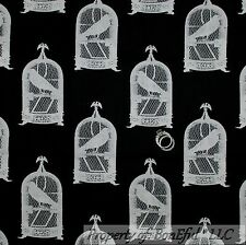 BonEful Fabric FQ Cotton Quilt Black White BIRD Crow Cage House VTG Shabby Chic