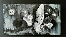 Black/White Gothic Abstract Painting on Wood,Surrealist,Postmodernist,Minimalist