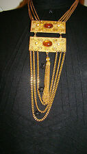 Vintage Cascading Chain Tassel Necklace with Faux Cabuchon/Pearl Detail  1970's