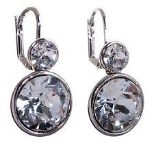 Swarovski Elements Crystal Brilliance Round Drop Pierced Earrings Rhodium 7261a