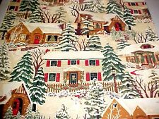 """Thimbleberries Fabric CHRISTMAS STREET 2007 Winter Holiday Snow House OOP 52""""L"""