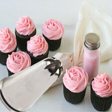 2pcs Rose Flower Cup Ice Cream Piping Tip Nozzle Cake Decorating Pastry Tools