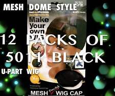 LOTS OF 12 QFITT MESH DOME STYLE WIG MAKING CAP MESH & TIGHT BAND #5011 BLACK