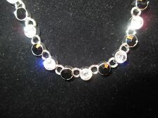 """Monet Signed Silver Tone Necklace - Clear & Black Faceted Stones up to 16-1/2"""""""