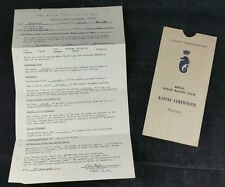 1960 The Royal Ocean Racing Club Temporary Rating Certificate, For Yacht Phryna