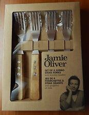 JAMIE OLIVER Set Of 4 Jumbo STEAK FORKS Wooden Handles NEW Hostess Gift R11347