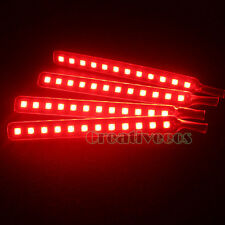 4x 12LEDs Car Charge 12V Glow Interior Decorative 4In1 SMD LED Strip Light Red