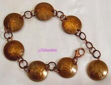 50TH BIRTHDAY ANNIVERSARY 1966 PENNY CHARM BRACELET RARE COPPER COIN JEWELRY
