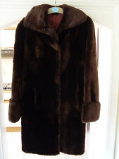 Vintage Womens Chocolate Brown Mouton Fur Coat Size 16 Blyvoor Dark